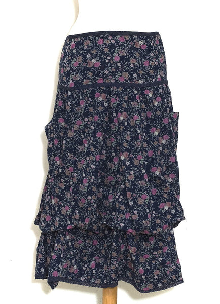 Dark Blue Posy Rose Freda Pocket Skirt