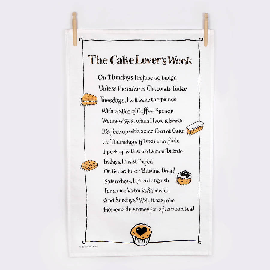 The Cake Lovers Week Poem Tea Towel