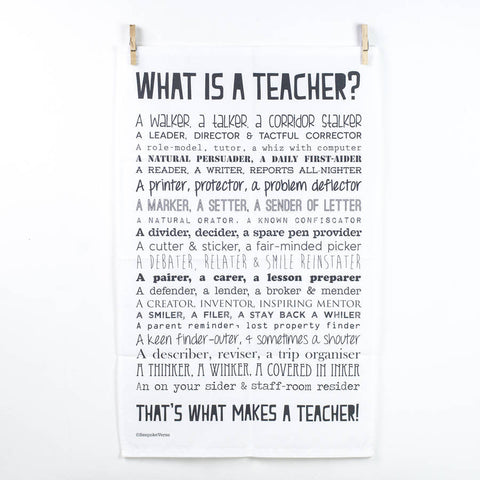 'What Is A Teacher?' Poem Tea Towel