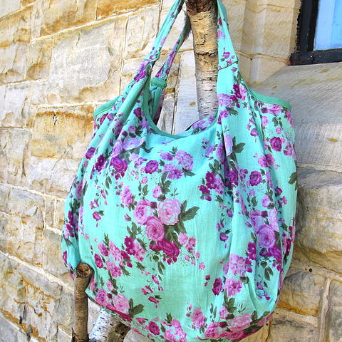 Turquoise Vintage Rose Zipper Bag