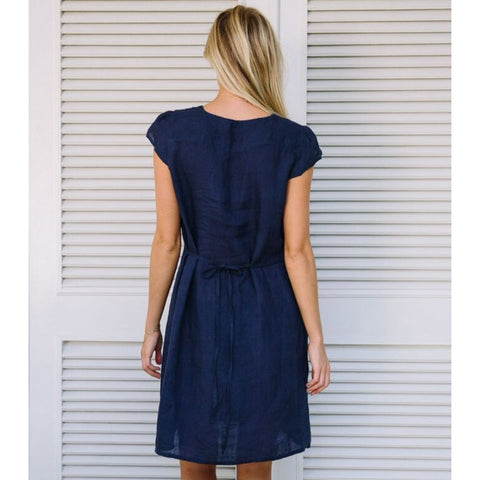 Blue Navy Paris Linen Dress