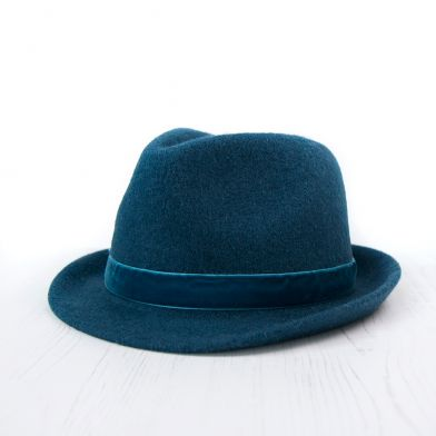 Blue Petrol Wool Hat With Velvet Trim