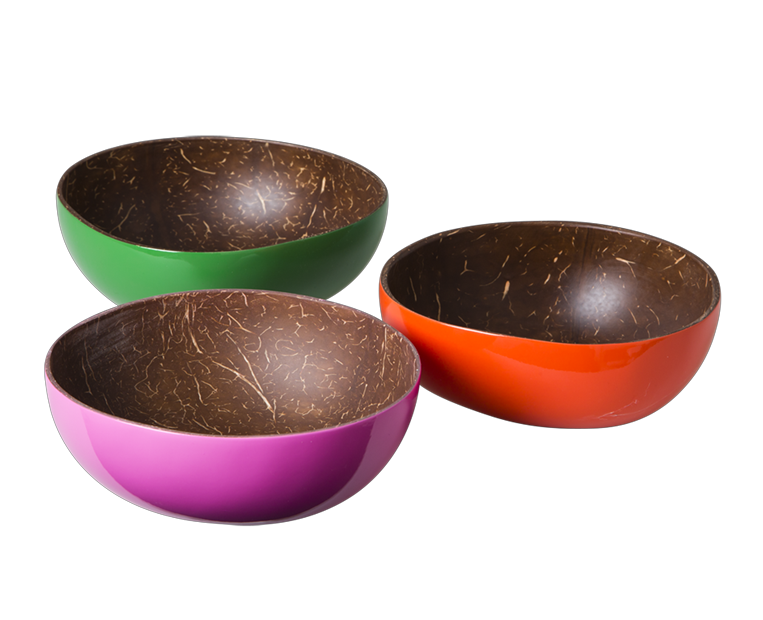 Set of 3 Coconut Lacquered Bowls