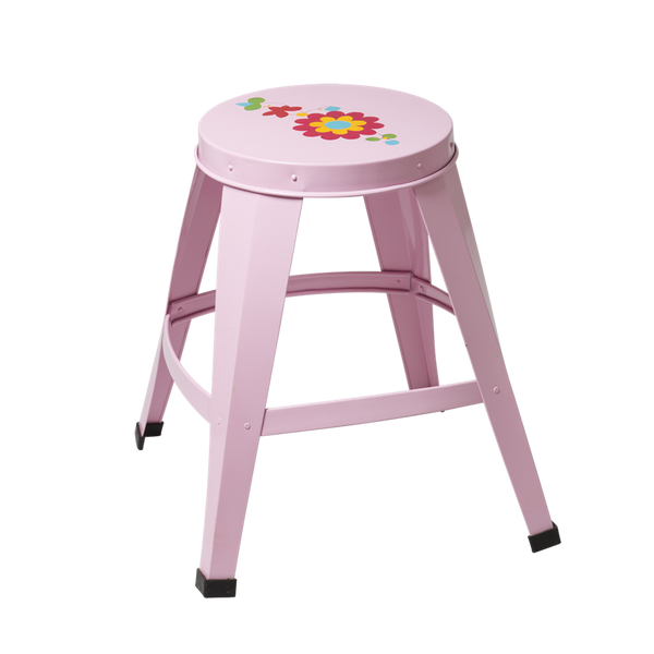 Pink Metal Stool with Flower Design