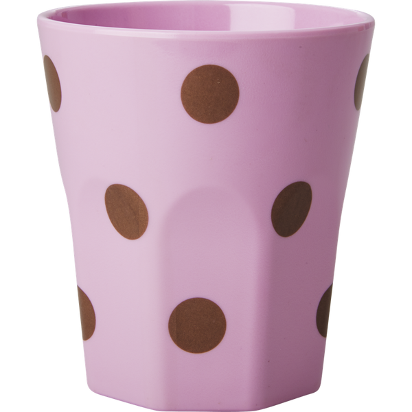 Large Pink Melamine Cup with Polka Dots