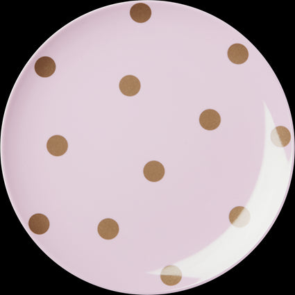 Melamine Pink Side Plate with Gold Polka Dots