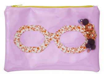 Pink Cosmetic Bag with Spectacle Applique