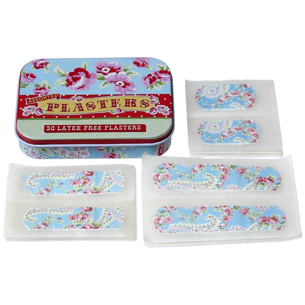 Pretty Tin of Blue Paisley Plasters