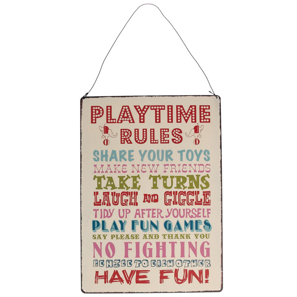 Play Time Rules Hanging Metal Sign