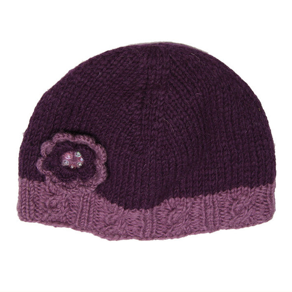 Plum Woollen Hat with Flower