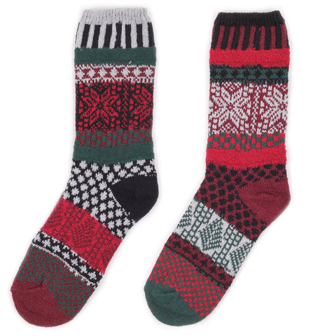 Mismatched Knitted Socks Poinsettia