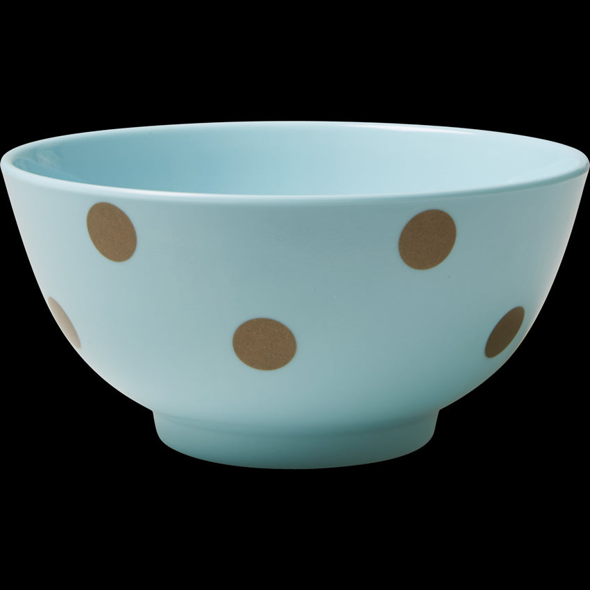 Soft Blue Melamine Bowl with Polka Dots