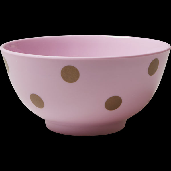 Pink Melamine Bowl with Polka Dots