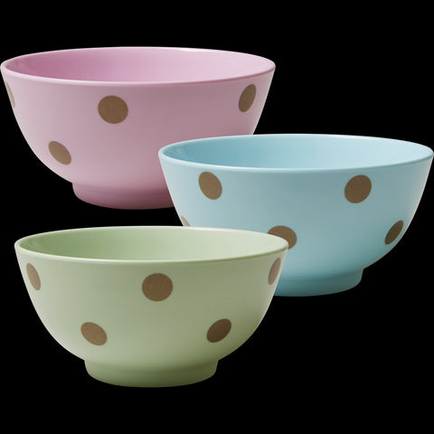 Pastel Green Melamine Bowl with Polka Dots