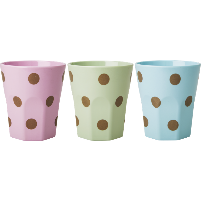 Large Melamine Cups with Polka Dots