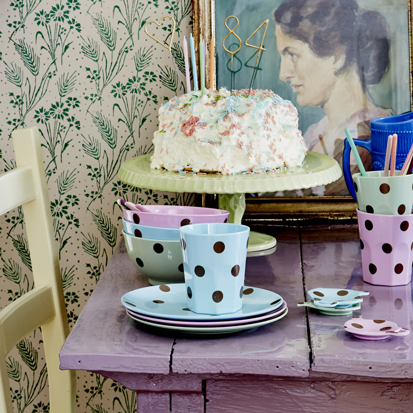 Melamine Tableware with Gold Polka Dots