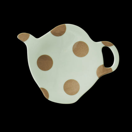 Pastel Green Melamine Tea Bag Plate with Polka Dots