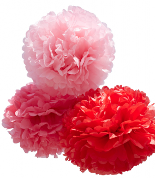 Red/Pink Set of Large Paper Pom Poms
