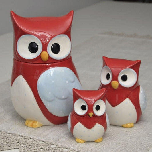 Red Owl Ceramic Cookie Jar