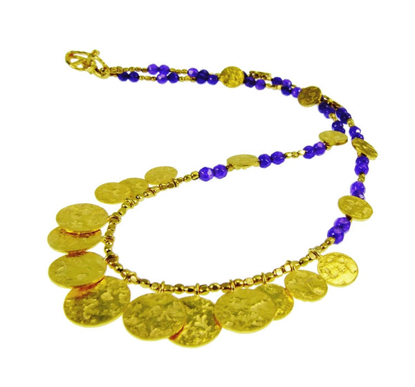 Purple Jade Gold Plated Coin Necklace