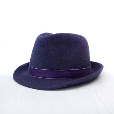 Purple Wool Hat With Velvet Trim