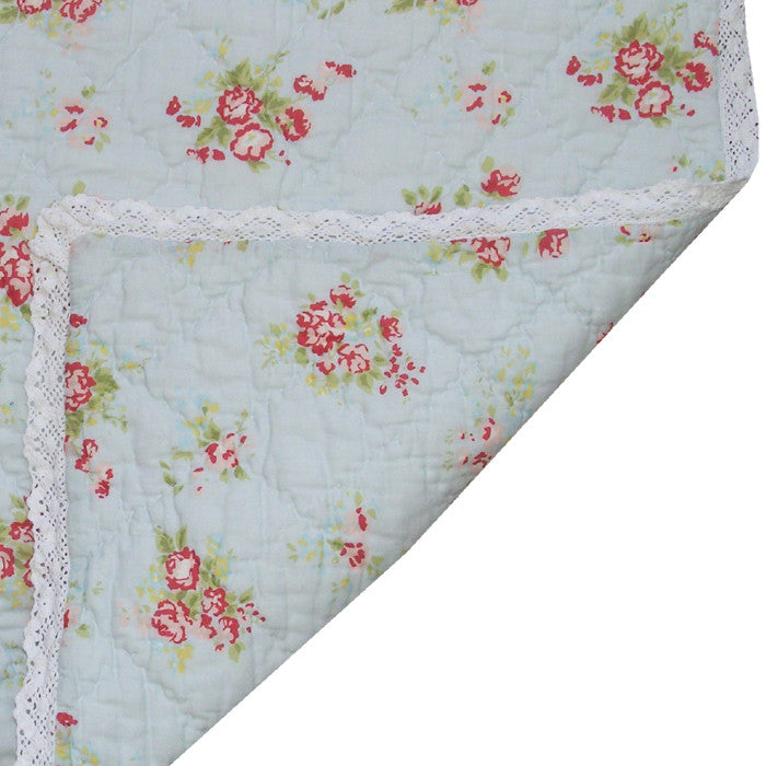 Blue Floral Cot Quilt with Lace Trim