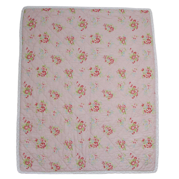 Pink Floral Cot Quilt with Lace Trim