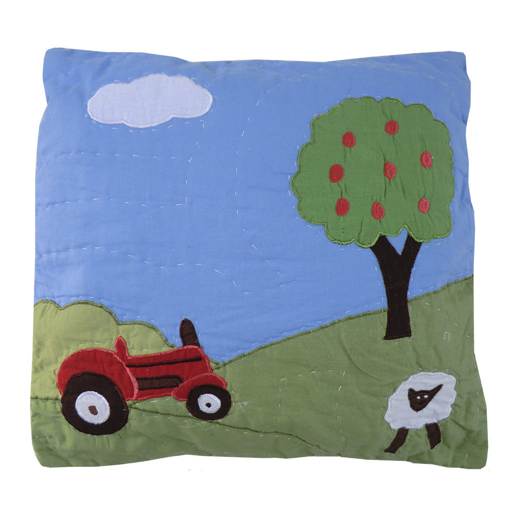 Embroidered Farmyard Cushion Cover