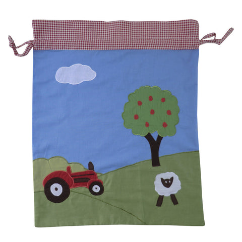 Embroidered Patchwork Farmyard Laundry/Toy Bag