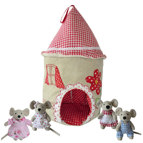 Patchwork & Embroidered Mouse House with Four Mice