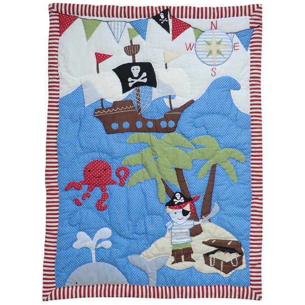 Embroidered Patchwork Pirate Cot Quilt