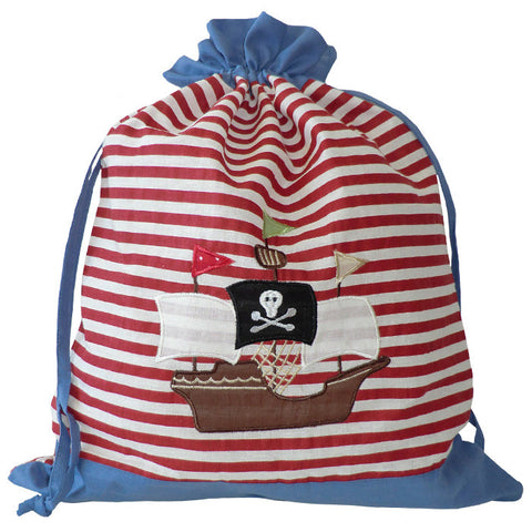 Embroidered Patchwork Pirate Laundry/Toy Bag