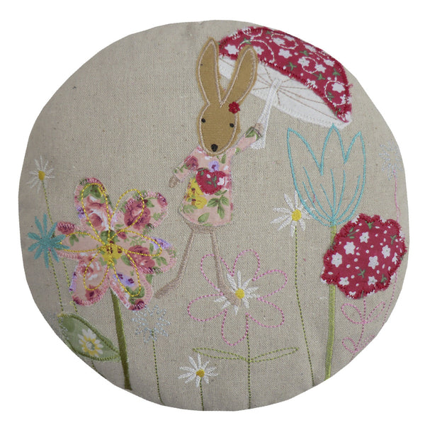 Embroidered Round Rabbit Cushion