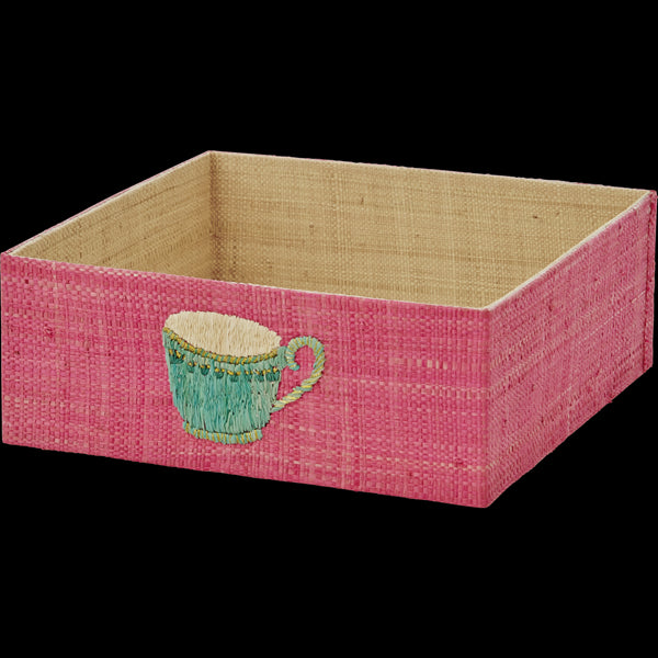 Pink Raffia Napkin Tray with Embroidered Tea Cup