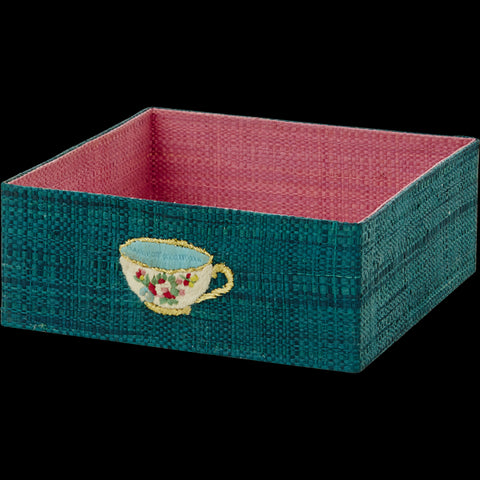 Blue Raffia Napkin Tray with Embroidered Tea Cup