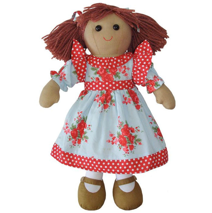 Traditional Rag Doll with Blue Dress with Red Roses