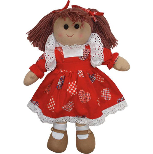 Traditional Rag Doll with Red Love Hearts Dress
