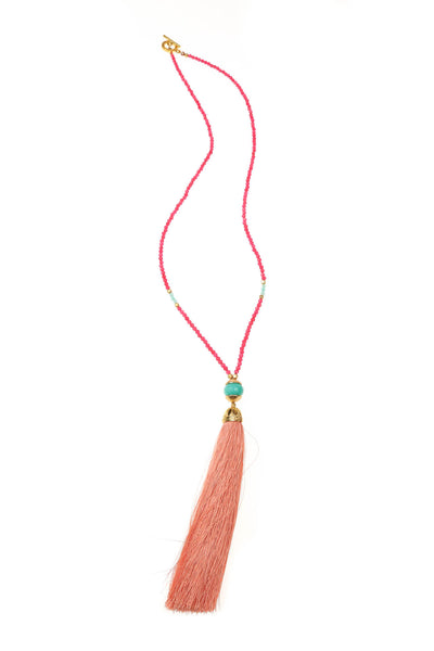 Melon Rainbow Tassel Necklace