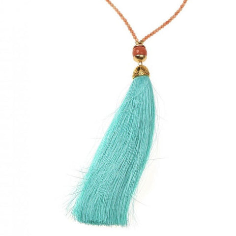 Aqua/Peach Rainbow Long Tassel Necklace