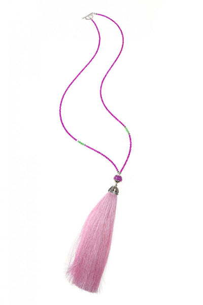 Pink & Purple Rainbow Long Tassel Necklace