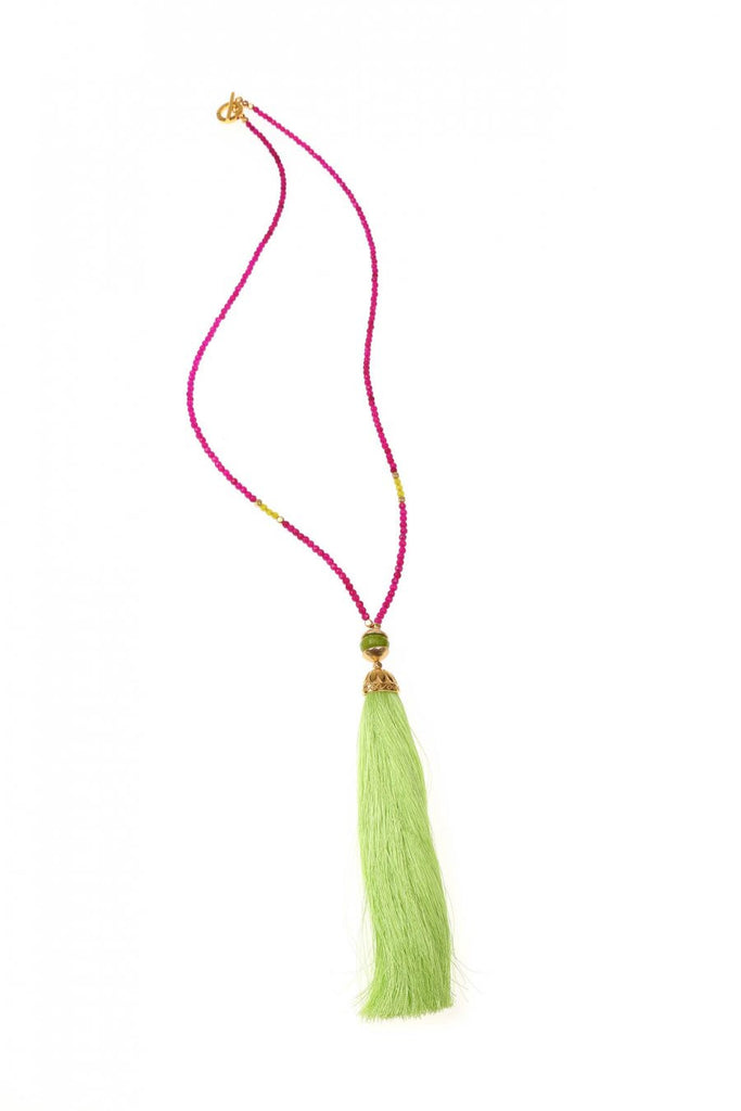 Yellow & Fuchsia Rainbow Long Tassel Necklace