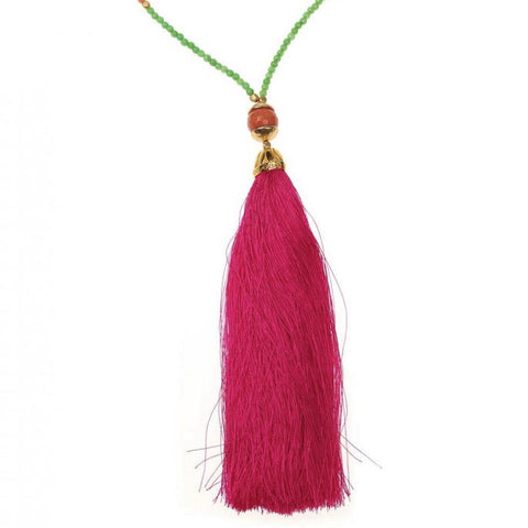 Green Rainbow Long Tassel Necklace