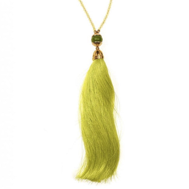 Yellow & Green Rainbow Long Tassel Necklace