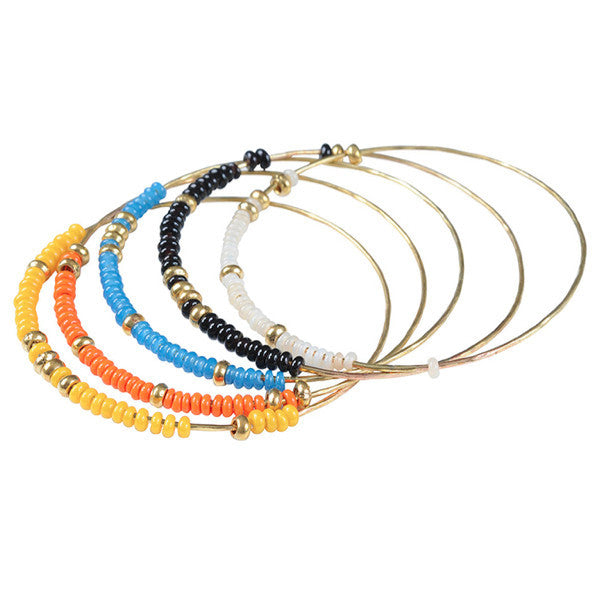 Hippy Chic Glass Beaded Bangles