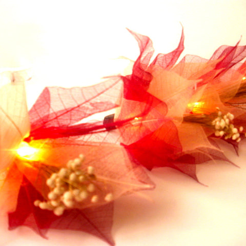 Red Bodhi Leaf String Lighting
