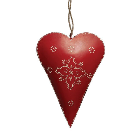 Large Red Clover Rustic Metal Heart