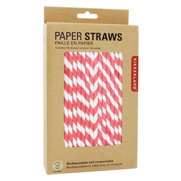 Biodegradable Red Retro Paper Straws