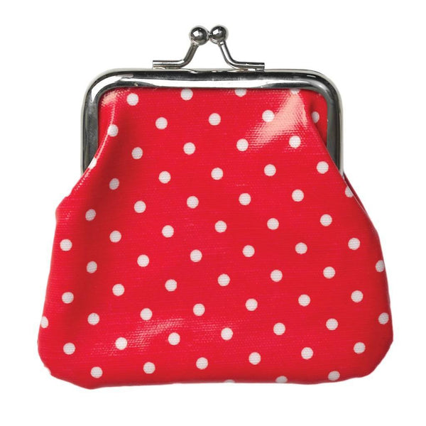 Red Spotty Oilcloth Coin Purse