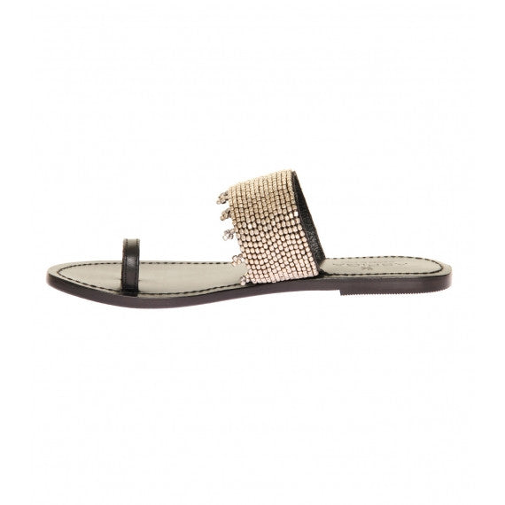 Gold Luna Natural Leather Toe Loop Sandals