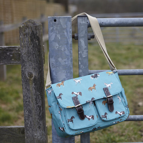 Satchel or School Bag - Aqua Horses